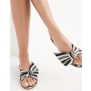 Madewell Nadia Half Bow Evelyn Striped Sandals 10